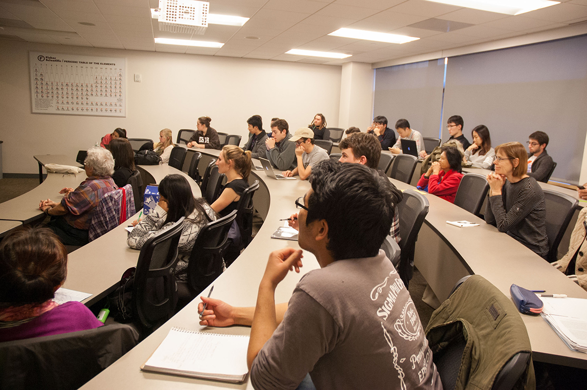 Students and faculty of Lehigh University listen to Dr. Lala Zuo speak about Chinese Architecture Under Mongol Rule