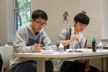 students paining, calligraphy