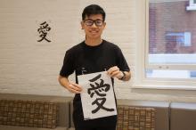 students paining, calligraphy, artwork presentation