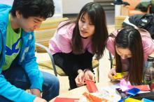 Lehigh Lunar New Year Celebration participants make origami