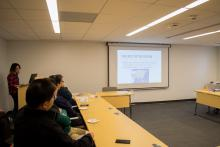 Students and faculty of Lehigh University view the Asian Studies Spring Social presentation